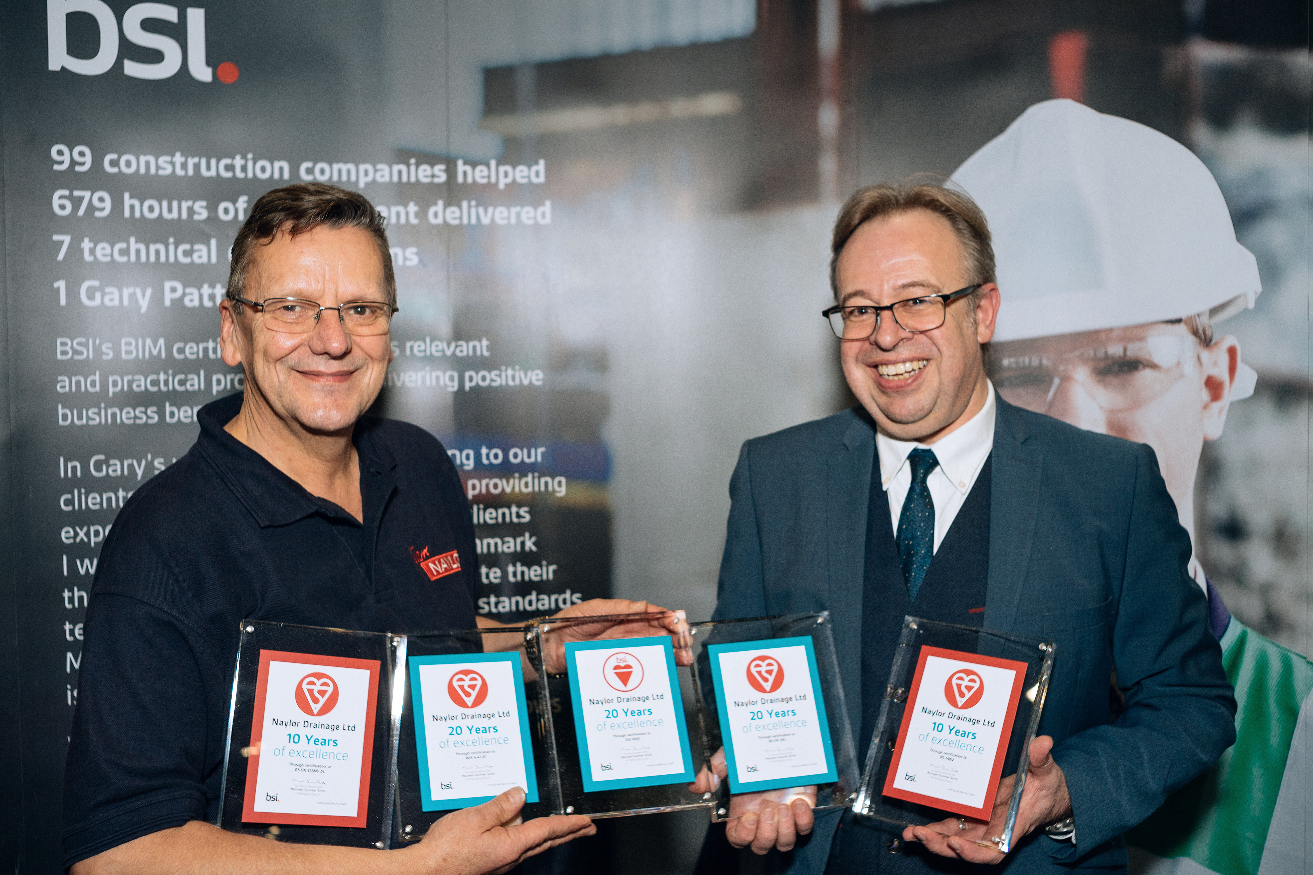 Naylor Drainage Ltd receive loyalty awards for four BSI Kitemarks and ISO 9001, Quality Management totalling 80 years