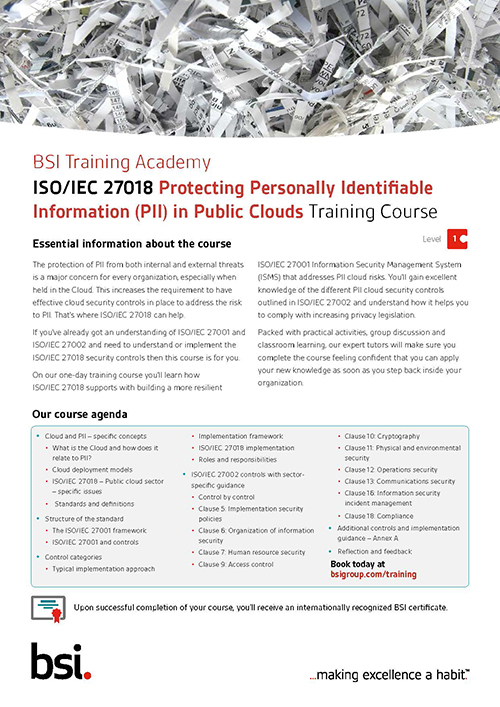 ISO/IEC 27018 - Protection of Personally Identifiable Information Training Course