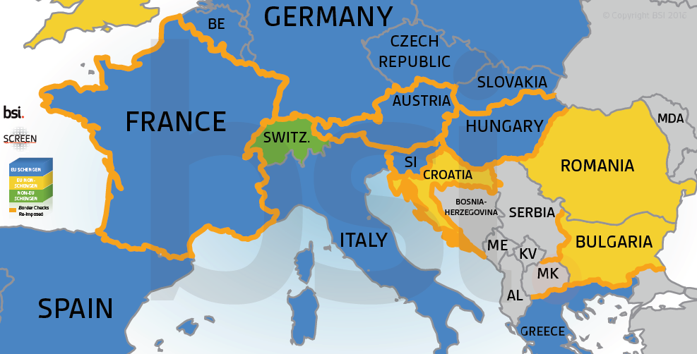 border checks in Europe map