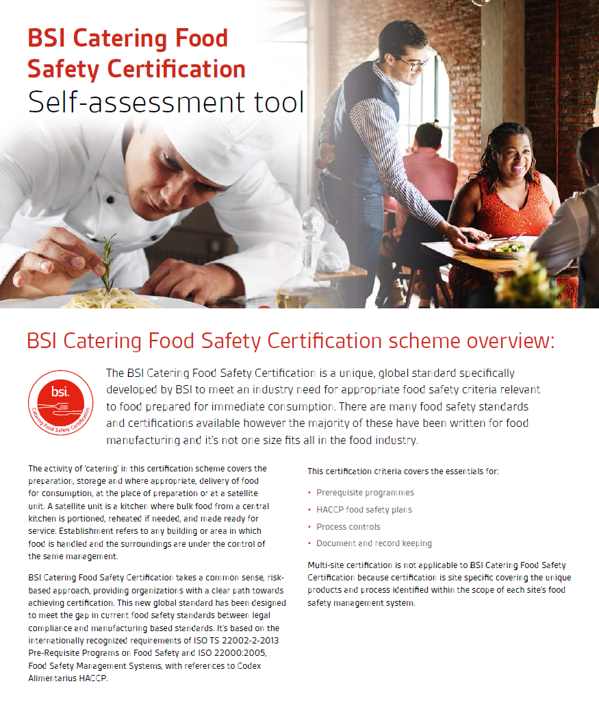 catering certification self assessment